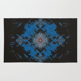 Blue Diamond Techno-Wisp Mandala Rug