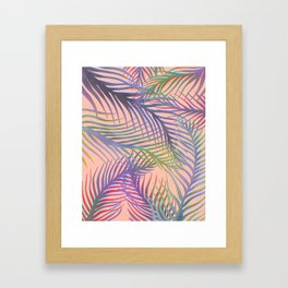Palm Leaves Pattern - Purple, Peach, Blue Framed Art Print
