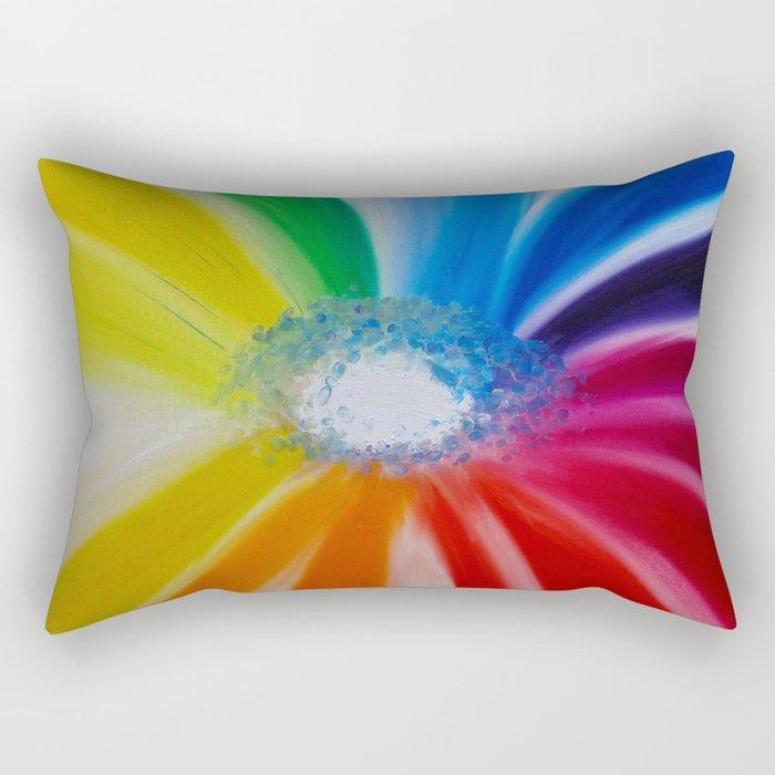 """Flower of live"" Original oil finger painting by Monika Toth Rectangular Pillow"