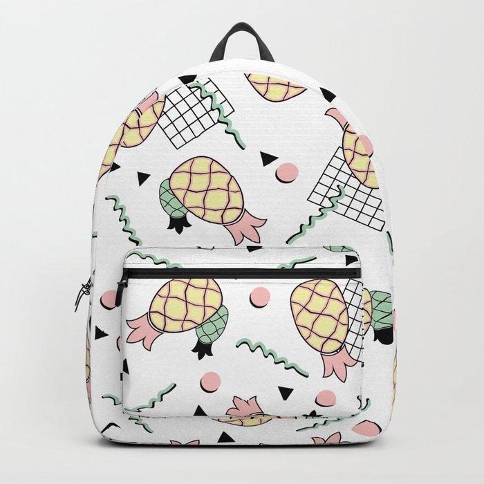 Funky Pineapple Fruit Retro Memphis Disco Pop Design Backpack