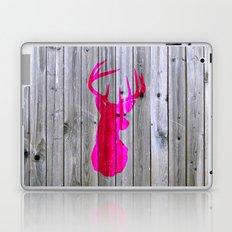 Bright Pink Hipster Vintage Deer Head Gray wood Laptop & iPad Skin