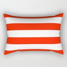 Fiesta Red and White Wide Horizontal Cabana Tent Stripe Rectangular Pillow