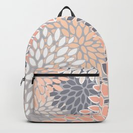 Flowers Abstract Print, Coral, Peach, Gray Backpack