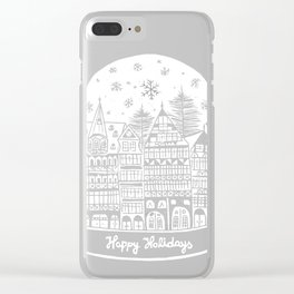 Linocut White Holidays Clear iPhone Case
