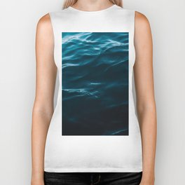 Minimalist blue water surface texture - oceanscape Biker Tank