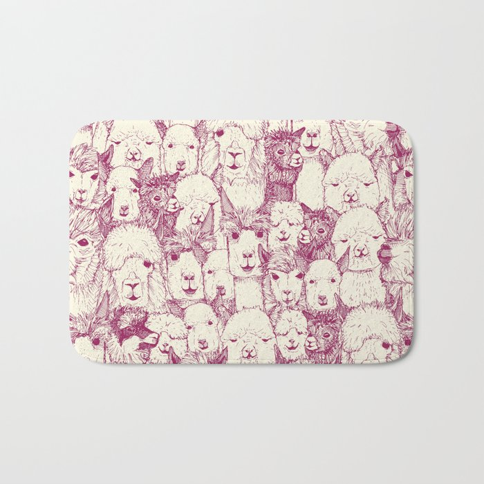 just alpacas cherry pearl Bath Mat
