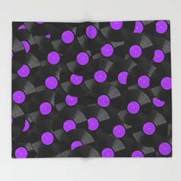 Vinyl Records Pattern (Purple) Throw Blanket