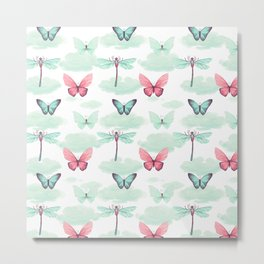 Pink teal watercolor clouds dragonfly butterfly pattern Metal Print