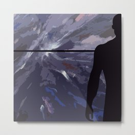 Horizon with black silhouette man Metal Print
