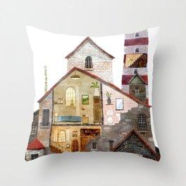 lighthouse town Throw Pillow