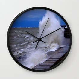 When Sandy Made Waves in Chicago #7 (Chicago Waves Collection) Wall Clock