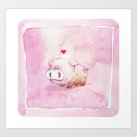 pig Art Prints featuring Pig by Steve Baker