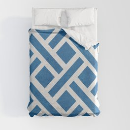 Diagonal square pattern with lines in blue Duvet Cover