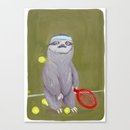 Sloths Are Bad At Things- Kevin the Tennis Star Canvas Print