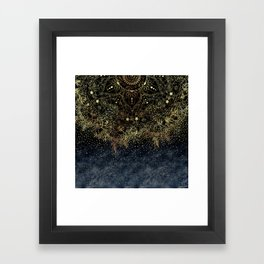 Stylish Gold floral mandala and confetti Framed Art Print