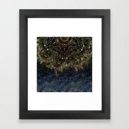 Stylish Gold floral mandala and confetti Framed Art Print