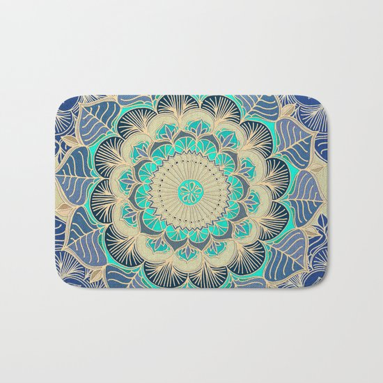 Midnight Bloom - detailed floral doodle in gold, navy blue & mint Bath Mat