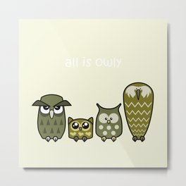 All is Owly (gold) Metal Print