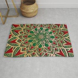 Islamic motive gold red and green ornate mandal Rug