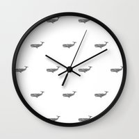 whales Wall Clocks featuring WHALES by Thiago Bianchini