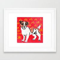 jack russell Framed Art Prints featuring Jack Russell by Mandarin Duck Craft