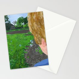 bubbles in the backyard Stationery Cards