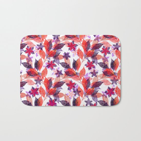 Red, or purple flowers and branches on a white background. Bath Mat