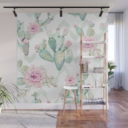 Cactus Chevron Southwestern Watercolor Wall Mural