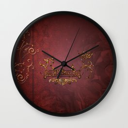 Music, clef with key notes on red background Wall Clock
