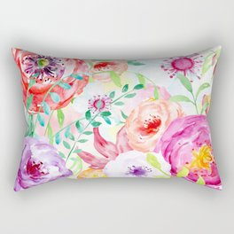 Watercolor Vibrant Flowers Red and Purple Rectangular Pillow