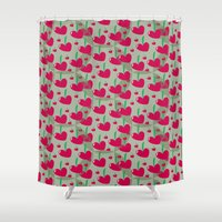 cherry Shower Curtains featuring cherry by Dana