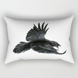 Black Crow Red Eyes Rectangular Pillow