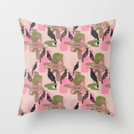 Huias and Proteas Throw Pillow
