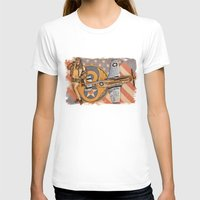 aviation T-shirts featuring Aviation Pinups - P-51 Mustang by Vintage Pinups