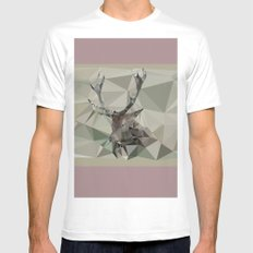 Cervus Elaphus MEDIUM White Mens Fitted Tee