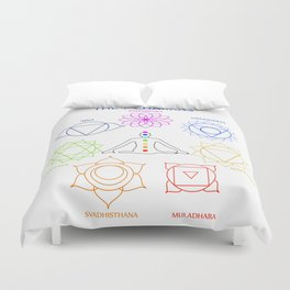 The seven chakras of the human body with their names Duvet Cover