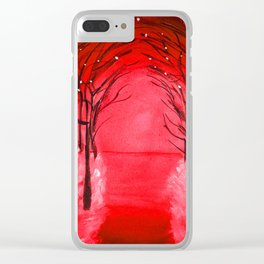 The Red Forest Painting Clear iPhone Case