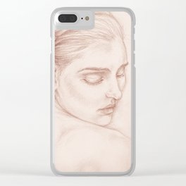 Portrait Study Drawing Victorian Lady Clear iPhone Case