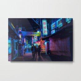 Neon Lit Seoul Metal Print