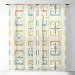 Mid Century Modern Starburst Shells Chartreuse Sheer Curtain