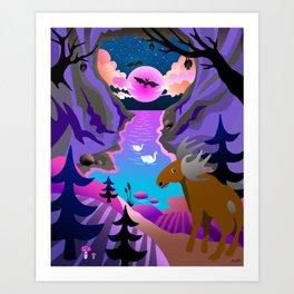 Sunset mystical cave Art Print