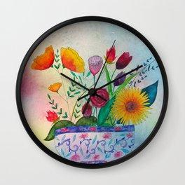 Flowers Pot in Sunlight Wall Clock