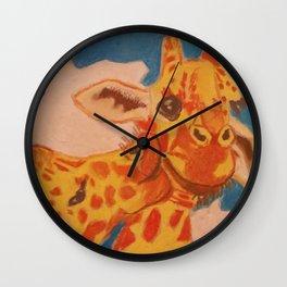 Giraffes Kissing Wall Clock