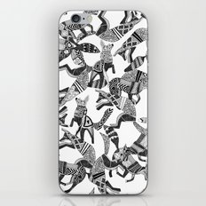 woodland fox party black white iPhone & iPod Skin