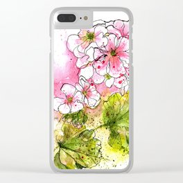 Pink Geraniums Watercolor Painting Clear iPhone Case
