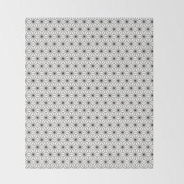 Black/White Japanese Hemp Kimono Pattern Throw Blanket