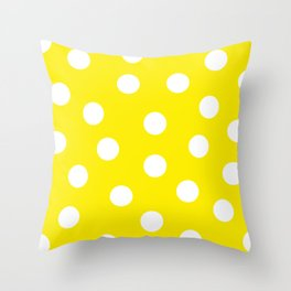 Polka Dots - Aureolin and White Throw Pillow