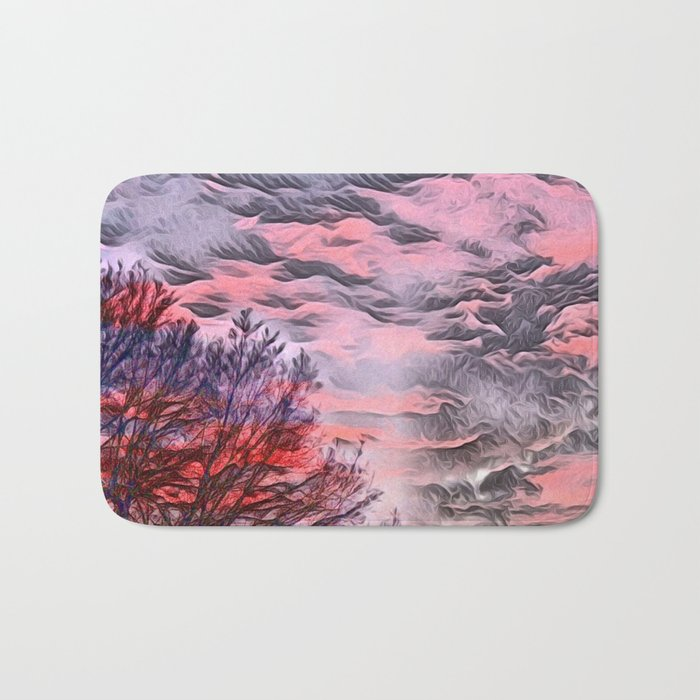 A German Sunset Sky with Tree (Landscape Nature) Bath Mat