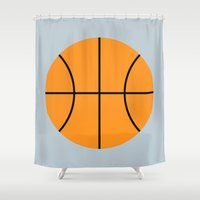 basketball Shower Curtains featuring #9 Basketball by MNML Thing