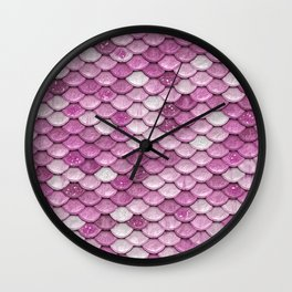 Light Pink Glitter Mermaid Sparkling Scales - Mermaidscales Wall Clock